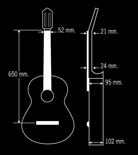 Guitarra Paco Castillo Modelo 201 Mate dimensiones
