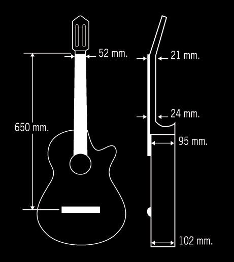 Guitarra Flamenca Paco Castillo Modelo 222ce dimensiones
